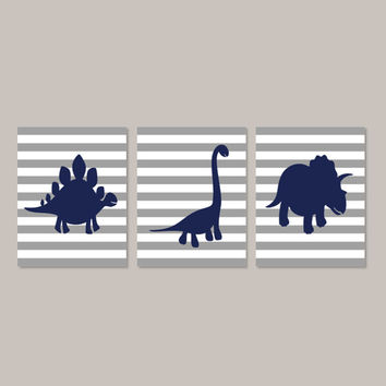 Dinosaur Bedroom Decor, Dinosaur Nursery, Navy Gray Boy Bedroom, Dinosaur Wall Art, Dino Nursery Set of 3 Prints Or Canvas