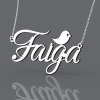 Cute name monogram necklace with bird--personalized 1.5 inch named monogram necklace