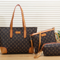 Louis Vuitton LV Women Fashion Leather Satchel Shoulder Bag Handbag Crossbody Three Piece Set