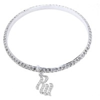 ROCAWEAR Silver Tone RW Flame CRYSTAL Bangle