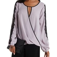 Lilac Lace & Chiffon Long Sleeve Wrap Top by Charlotte Russe