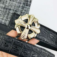 Chrome Hearts Tide brand crocodile pattern versatile men and women smooth buckle belt #1