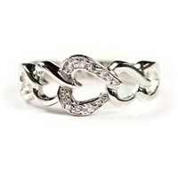 The Chain of Hearts Sterling Silver CZ Ring