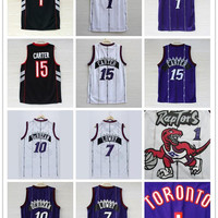 Top Quality Men's Toronto jersey 15 Vince Carter 1 Tracy McGrady Throwback Raptors Basketball jerseys 7 Kyle Lowry 10 White Purple stitched