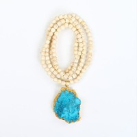 Boho Chic Turquoise Beads Chain Long Necklace Blue Druzy Quartz Crystal Pendant Gold Plated Natural Stone Pendant Necklace