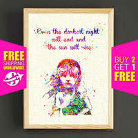 Les Misérables Quote Watercolor Print Victor Hugo Poster Home Decor Wall Art Nursery Art Gift Watercolor Painting -FERE SHIPPING-435s2g