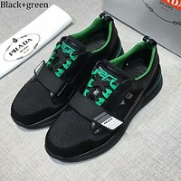 PRADA 2018 new men's outdoor sports shoes mesh breathable casual shoes Black+green