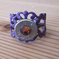 38 Special Purple Bullet Ring with Rainbow Volcano Swarovski Crystal Accents - Small Thin Cut - Girls with Guns
