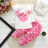2017 Baby Set Dot Long Sleeve Cotton For Baby Girl Clothes Baby Suits (Sport) Children Set T-Shirt+Pant Spring Summer 3Colors