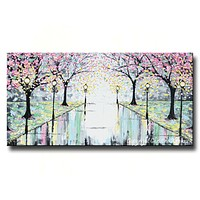 GICLEE PRINT Abstract Art Painting Pink Cherry Trees Canvas Prints Grey Yellow White-sizes up to 60""