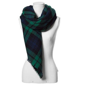 Winter Cashmere Plaid Scarf Lovely Wrap Shawl [9572824975]