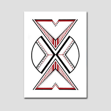 Original abstract drawing on paper. Geometric art with red accents.