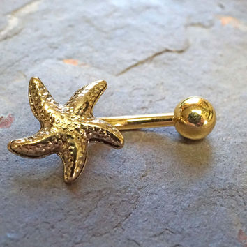 Gold Belly Button Ring Starfish