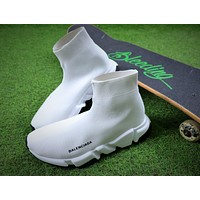 Balenciaga Speed Stretch Knit Mid Sneakers White Socks Shoes