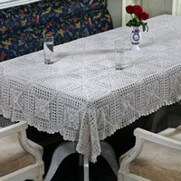 Vintage Design CROCHET TABLECLOTH - Handmade Crochet - Premium design - Wedding and Home Decor - Table Linen - White and Natural Color
