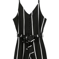 Spaghetti Strap Vertical Striped with Bow Black Romper