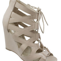 Donya-125 Wedge Lace Up : Beige