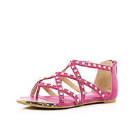 Girls pink studded gladiator sandals - shoes / boots - girls