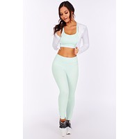 Get A Grip Seamless Perforated Cropped Jacket (White)