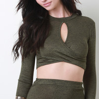 Melange Knit Surplice Crop Top