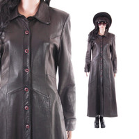 Long Black Leather Coat 90s Goth Matrix Minimalist Winter Vintage Outerwear Butter Soft Womens Clothing Size Small Medium