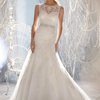 New Design A-line Sheer Neckline Embelished With Crystal Beads Tulle & Lace Wedding Dress Bridal Dress W334