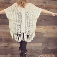 Free Falling Natural Distressed Knit Sweater