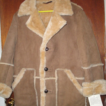 Mens Vintage Brown Suede Sheepskin Shearling Coat Schott Brothers 42