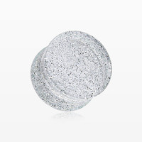 zzz-A Pair of Glitter Shimmer Acrylic Double Flared Ear Gauge Plug