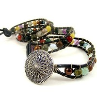 Triple Wrap Bracelet Mixed Gemstone and Glass Beads on Black Leather with Vintage Button Clasp