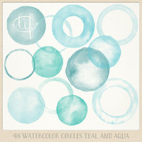 Watercolor clipart circles and frames (48 pc) teal aqua turquoise green. handpainted round clip art for blogs digital scrapbooking cards etc