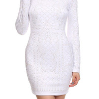Long Sleeve Quilted Bodycon Dress D4549-7447