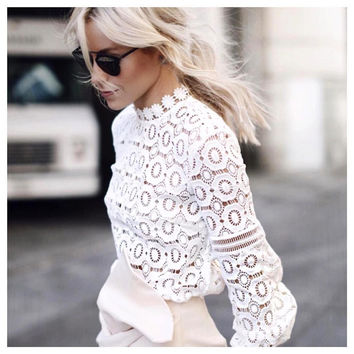 Stylish Hollow Out Lace Tops Bottoming Shirt [9430886148]