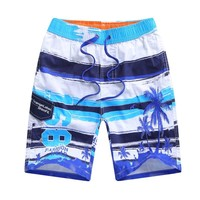 Beach Swimwear 100% Cotton Shorts For 7-15T Boys Summer Diving Swim Wear Printed Teenager Kid Child Swimming Trunks Swimsuit