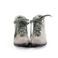 Hiking Boots Gray Leather Vintage 70s Winter Snow Boots Womens Size 8.5