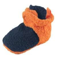 Scooties Fleece Boys Booties by Luvable Friends, Orange and Navy | Affordable Infant Clothing