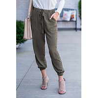 Taking My Time Leisure Pants With Side Button Detail : Olive