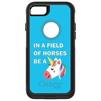 DistinctInk™ OtterBox Commuter Series Case for Apple iPhone or Samsung Galaxy - In a Field of Horses, Be a Unicorn - Blue