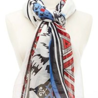Red Combo Tribal & Leopard Print Scarf by Charlotte Russe