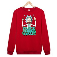 Rick and Morty Rick and Moti cartoon T-shirt sleeve head plus cashmere sweater sweater Red