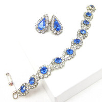 Blue Rhinestone Clear Bracelet Silver Tone Rhinestone Tear Drop Earrings Blue Clear Crystal Sapphire Prom Vintage Designer Jewelry Wedding