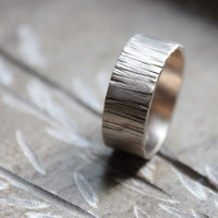 Woodland Tree Bark White Gold Wedding Band for Men or Women - recycled gold