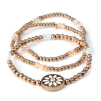 LE3NO Womens Stretchy Sunburst Beaded Bracelet Set