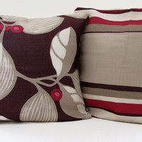 16 inch Romo striped cushion cover , beige , brown and red linen pillow cover