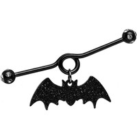 Handcrafted Clear Gem Black Glitter Bat Dangle Industrial Barbell 38mm
