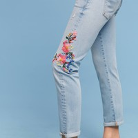 Pilcro Floral Embroidered Mid-Rise Ankle Jeans