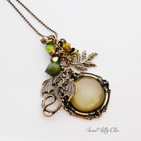 Mythical Dragon Necklace, Antique Gold and Green Fairy Tale Dragon Necklace, Fantasy Magic Jewelry