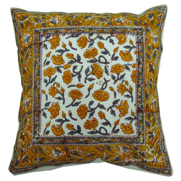 White Indian Hand Block Orange Floral Throw Cotton Cushion Cover