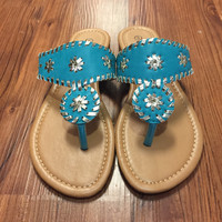 Jack Inspired Sandals - Teal with gold stitch