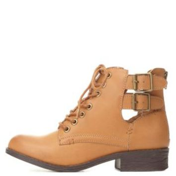 Bamboo Belted Cut-Out Combat Booties